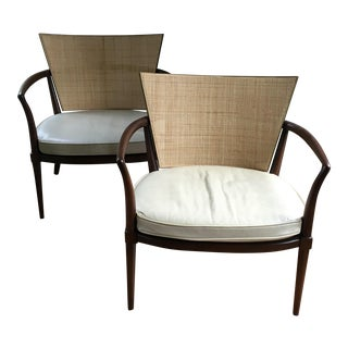 Mid Century Modern Bert England for Johnson Furniture Caned Lounge Chairs - A Pair