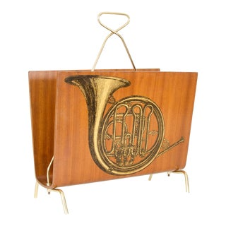 Vintage Blonde Wood Magazine Rack With Musical Instrument Design For Sale