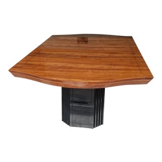 Henredon Black Lacquer & Hawaiian Koa Wood Pedestal Dining Table