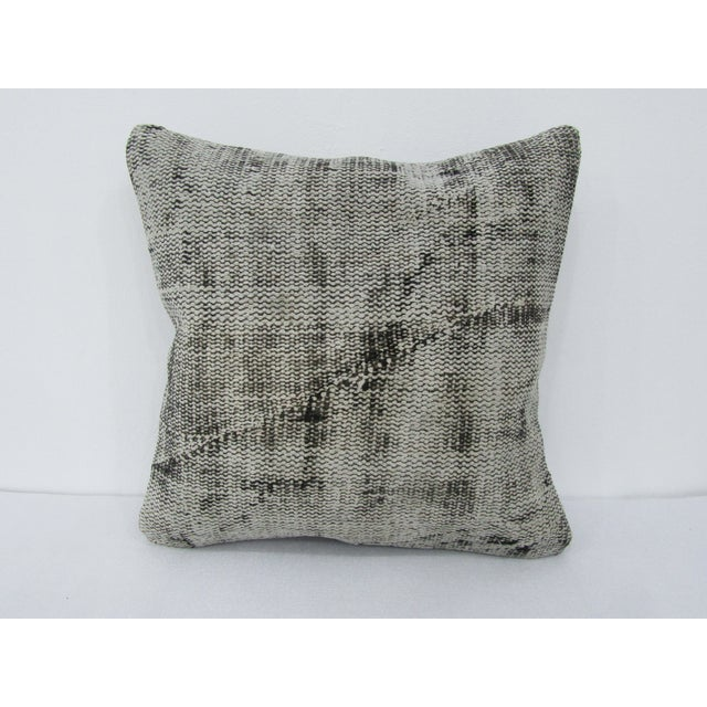 Turkish Gray Overdyed Vintage Pillow Cover For Sale - Image 4 of 4