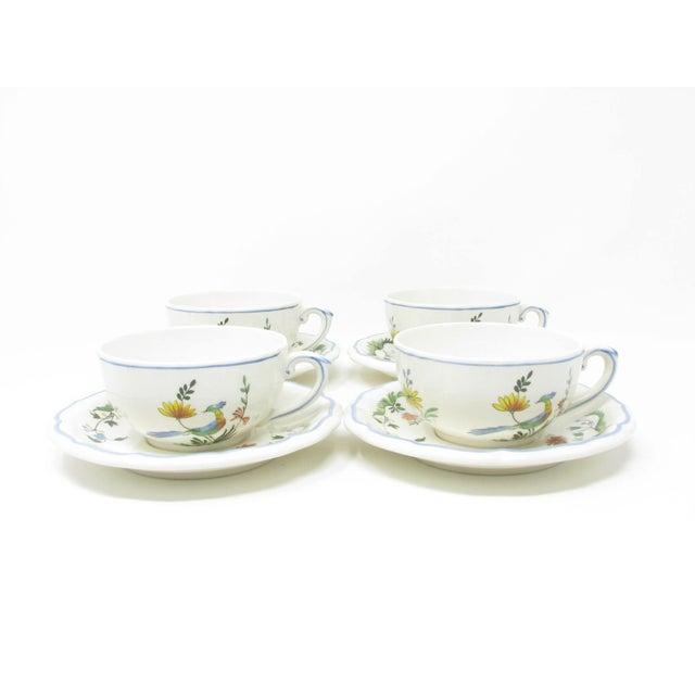 French Vintage Oiseau De Paradis by Faiencerie De Gien Cups & Saucers - 4 Sets For Sale - Image 3 of 13