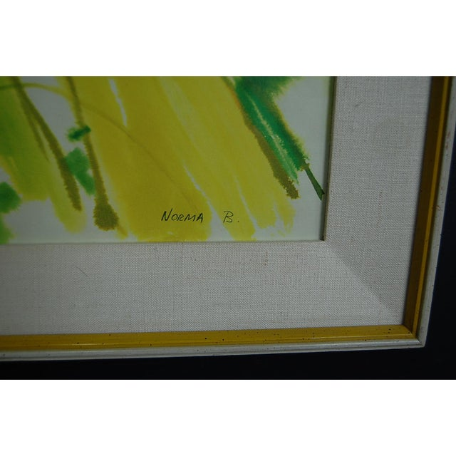 Tropical Leaves Framed Water Color by Norma Green For Sale - Image 5 of 9