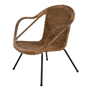Mid Century Boho Bamboo Rattan Hoop Chair For Sale