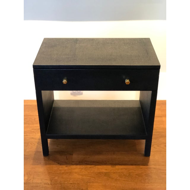 Gorgeous Maris nightstand in dark navy faux Belgian linen. MINT! From the Made Goods tearsheet: Simple and streamlined,...