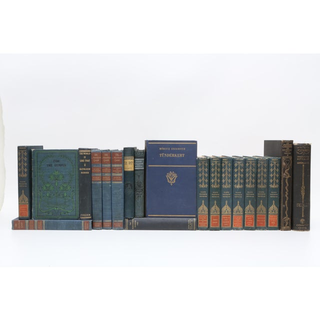1900 - 1909 Mid Century Blue Navy and Forest Green - Set of 20 Decorative Books For Sale - Image 5 of 5