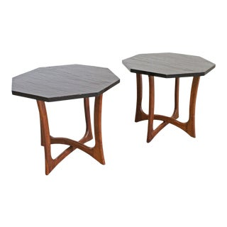 Pair of Mid-Century Modern Adrian Pearsall Sculptural Slate End Tables For Sale