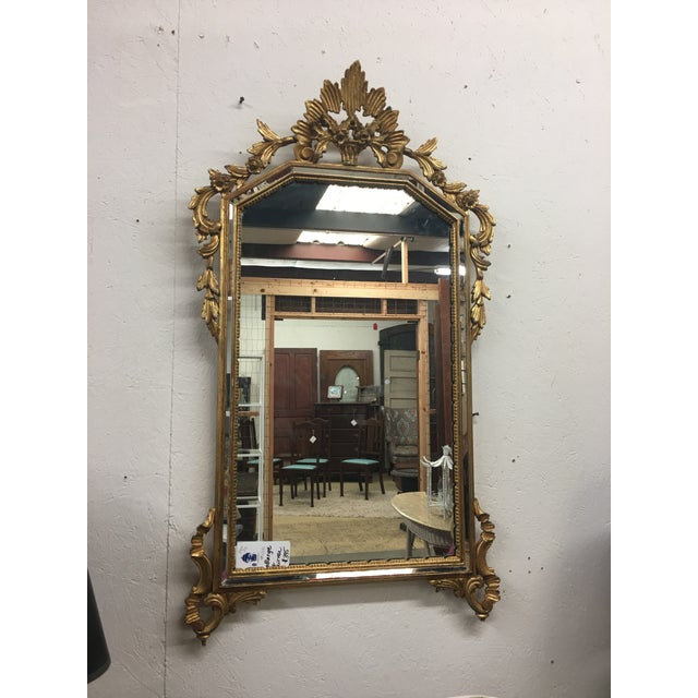 Lovely LaBarge gold mirror with beveled insets. Show stopper!