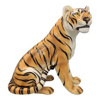 Large Mid-Century Italian Ronzan Terra Cotta Tiger For Sale