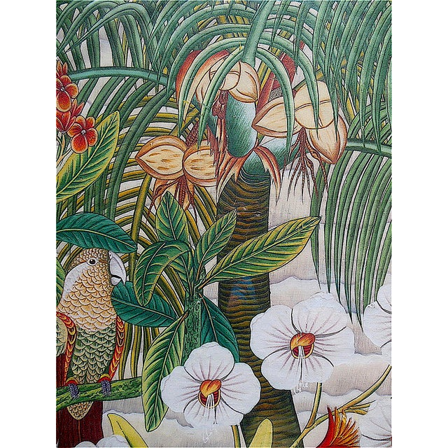 Paint Large Vintage Signed Asian Painting-Tropical Scene For Sale - Image 7 of 8