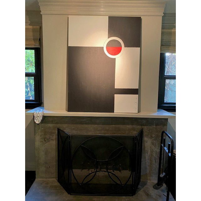 This original acrylic painting is basically black and white with a red accent lined in silver.