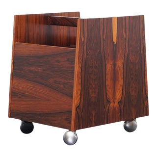 1960s Danish Rosewood Magazine / Record Stand by Rolf Hesland For Sale