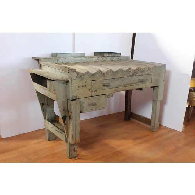 Unusual antique printer's working wood table/desk. This piece would make a great gift for creative pioneers.