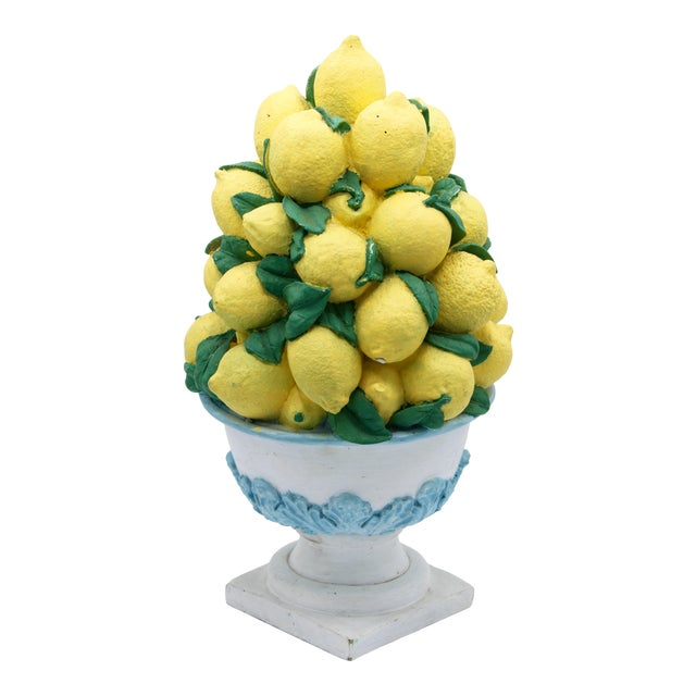 Tall Vintage French Lemon Topiary Basket / Centerpiece For Sale