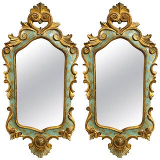 Pair of Italian Painted Carved Wood Mirrors With Brass Caps For Sale