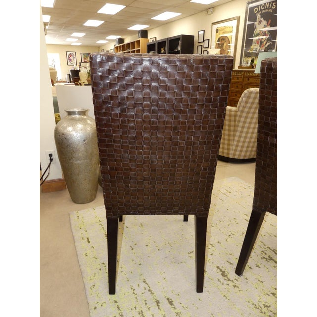 Brown Stone International Modern Italian Woven Leather Dining Chairs- Set of 4 For Sale - Image 8 of 13