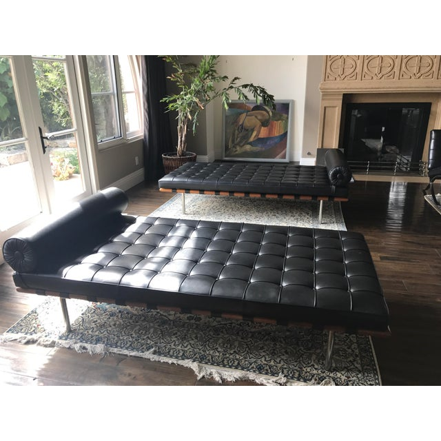 Mies Barcelona Couch. Barely used just for looks. Black leather. Knoll signature on bottom. We have 2 for sale. Price is...