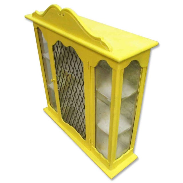 Yellow Painted Curio Cabinet For Sale - Image 6 of 8