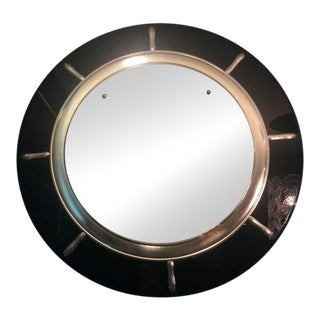 1930s Art Deco Black and Silver Ships Wheel Mirror For Sale