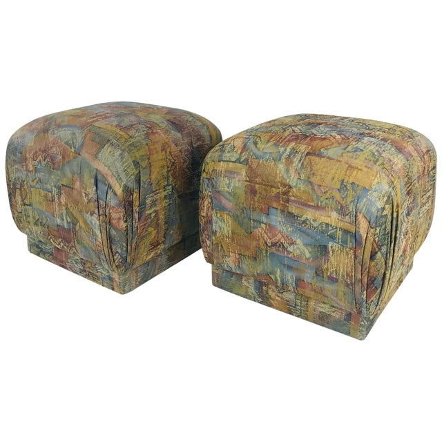 Pair of Pouf Ottomans With Plinth Base For Sale