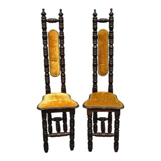 Vintage Spanish Jacobean Renaissance Revival Gothic Gold Hall Prayer Chairs - a Pair For Sale