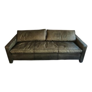 Rustic Green Leather Sofa For Sale