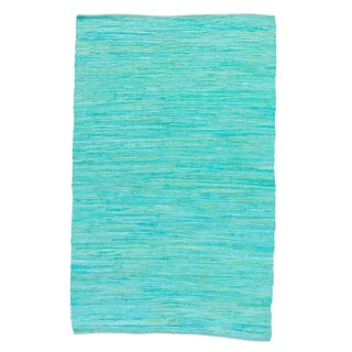 Jaipur Living Raggedy Handmade Solid Blue Green Area Rug - 4' X 6' For Sale