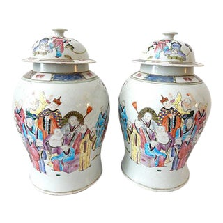 "H.Painted Famille Rose Ginger Jars , Pair 16.5"" H"