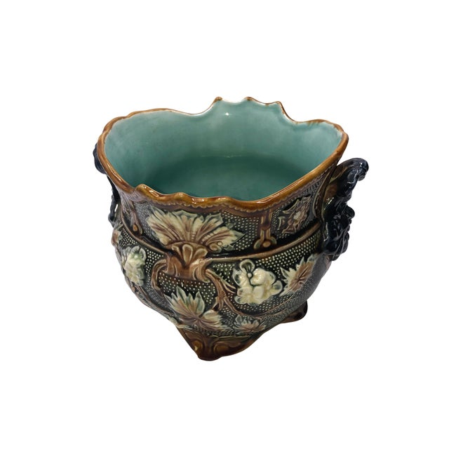 French French Antique Majolica Planters - a Pair For Sale - Image 3 of 10