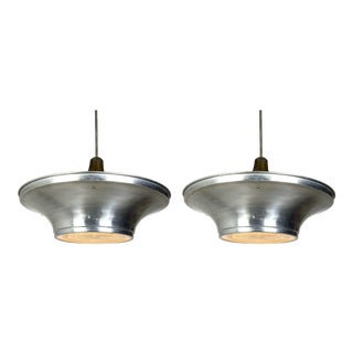 Art Deco Aluminum Dish Pendants W/ Glass Diffusers - a Pair For Sale