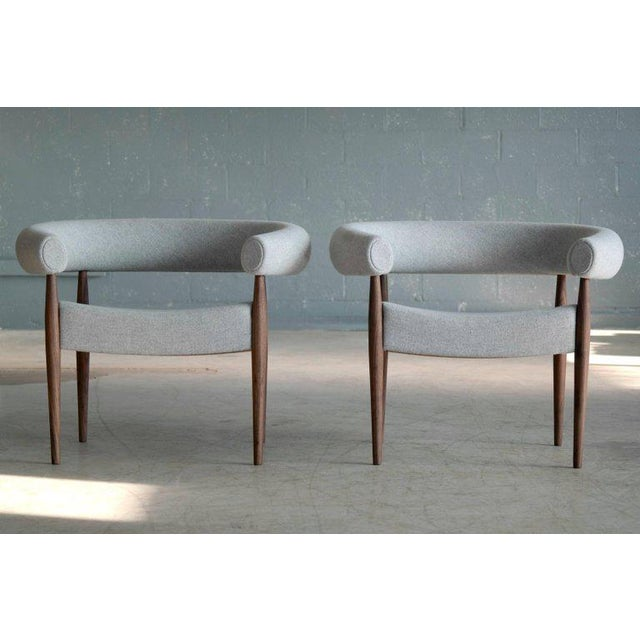 Nanna Ditzel Pair of Nanna Ditzel Ring Chairs in Walnut and Wool for Getama, Denmark For Sale - Image 4 of 9