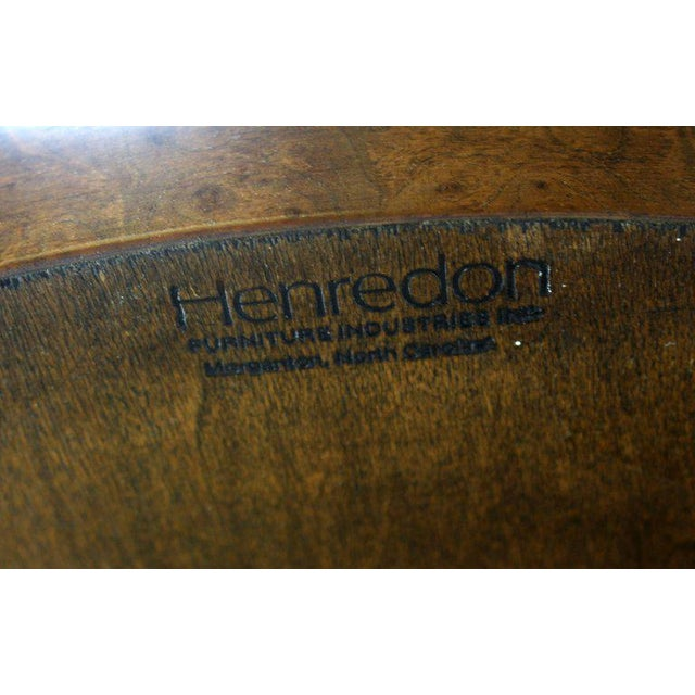 Metal Mid-Century Modern Henredon Round Brass Burl Wood Dining Table For Sale - Image 7 of 9