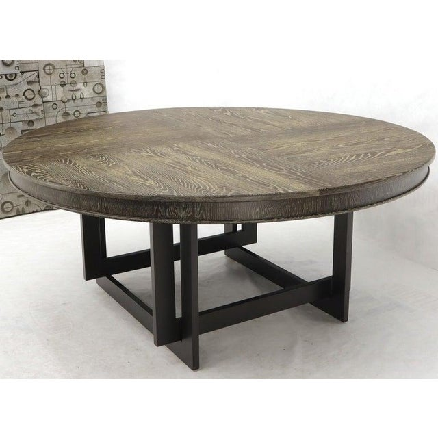 1970s Large Oversize in Diameter Round Cerused Limed Oak Dining Table For Sale - Image 5 of 13