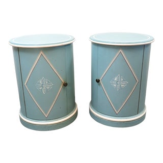 Regency Blue Decorated Column Form Nightstands - a Pair For Sale