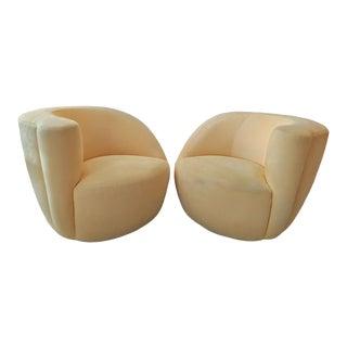 Vladimir Kagan, Nautilus Swivel Chairs, Mirrored Pair / Vintage For Sale