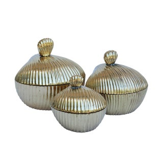 Brass Apple Shaped Trinket Boxes, Set of 3 For Sale