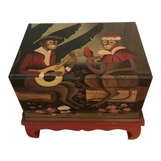 1980s Folk ArtMonkey Couple Hand Painted Chest on Base For Sale