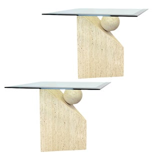 1980s Italian Postmodern Travertine and Glass Sculptural Side Tables – a Pair For Sale