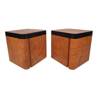Milo Baughman for Thayer Coggin Mid-Century Burl Nightstands - A Pair For Sale