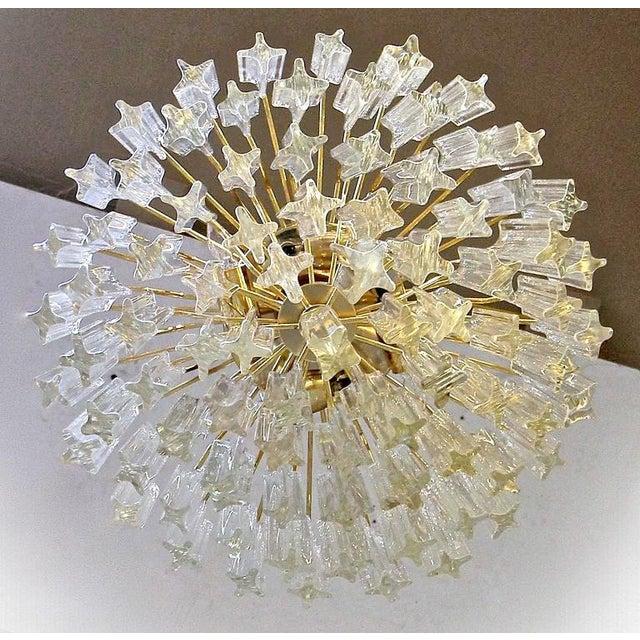 Brass 1970s Italian Quatro Punta Crystal Prism Chandelier For Sale - Image 7 of 10