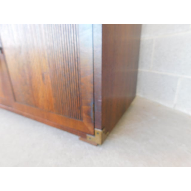 """Brass Henredon Campaign Style 2 Drawer 2 Door Chest 30""""h X 36""""w For Sale - Image 7 of 10"""