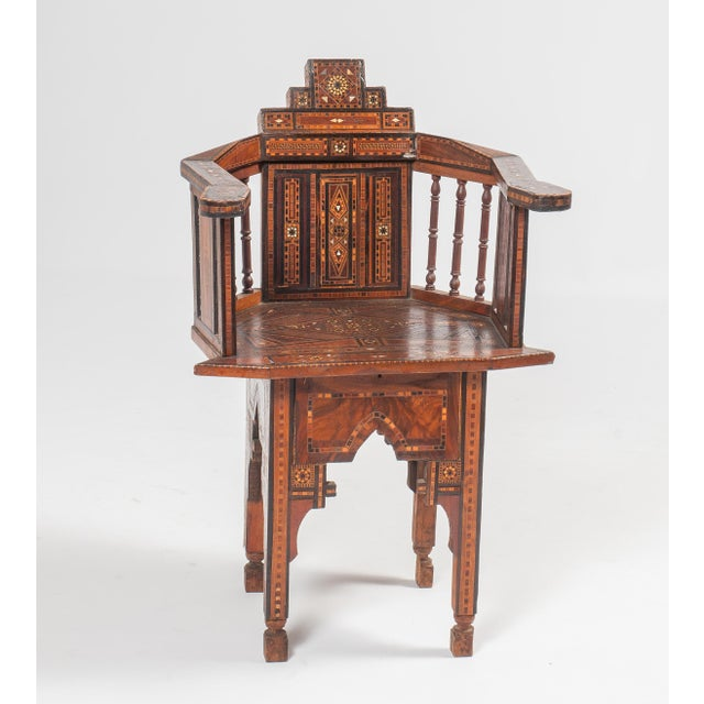Early 20th Century Turkish Wood Inlay Chair - Image 2 of 6