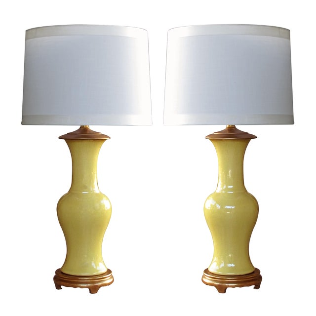 A Vibrant and Shapely Pair of Chinese Baluster-Form Canary-Yellow Crackle-Glaze Porcelain Lamps For Sale - Image 4 of 4