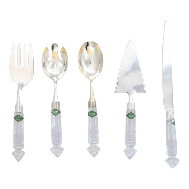 Crystal and Silver Serving Utensils Shannon Crystal by Godinger - Set of 5 For Sale