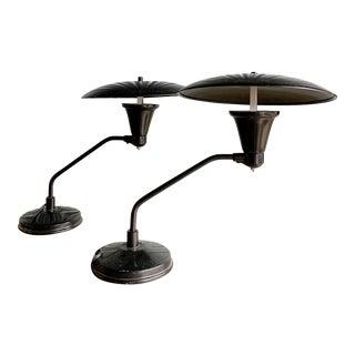 Vintage Art Deco Industrial Modern Black Lamps - a Pair For Sale