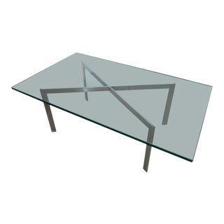 1960s Mid-Century Modern Chrome X-Base and Glass Coffee Table For Sale
