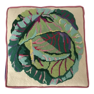 Vintage Cabbage Needlepoint Pillow With Insert For Sale