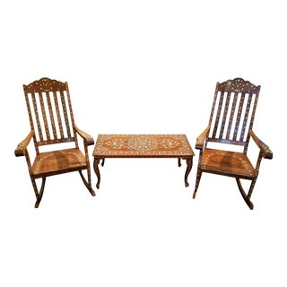Mid-Century Middle Eastern Heavily Inlaid Rockers and Table Set For Sale