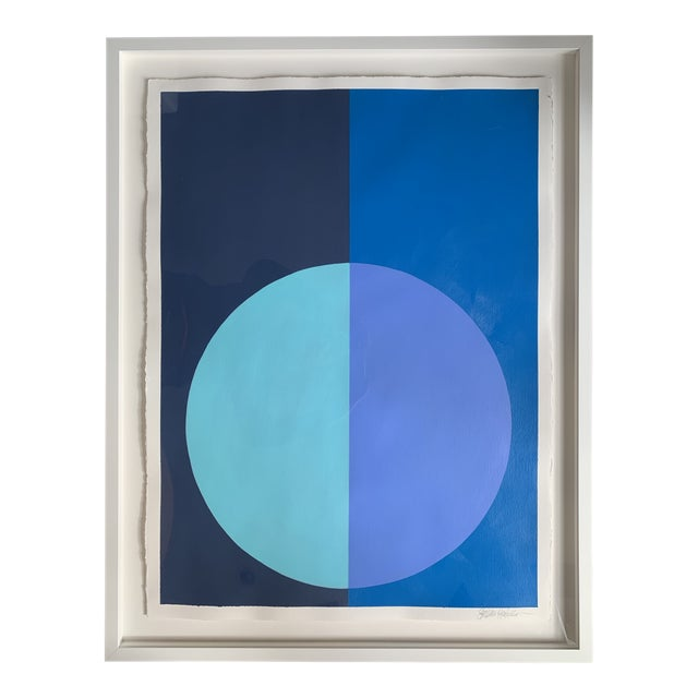 Stephanie Henderson Variation on a Circle in Blues Original Painting For Sale