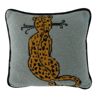 "Midcentury Fine Handmade Needlepoint Cheetah Cat Design Pillow 11""x11"" For Sale"