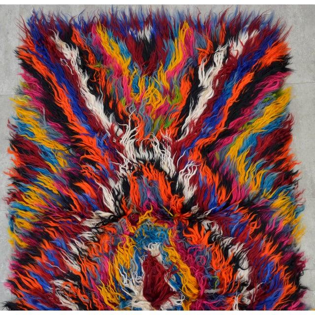 "Vintage Boho Chic Mohair Shaggy Tulu Kilim - 3'6"" X 7'3"" - Image 6 of 10"